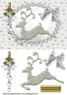 CHRISTMAS SILVER REINDEER on Craftsuprint designed by Nick Bowley - CHRISTMAS SILVER REINDEER,In Diamond Frame with Bells makes a pretty card for christmas - Now available for download!