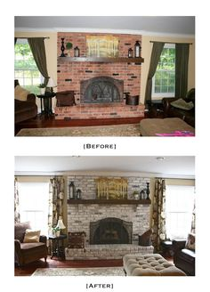 White Washed Brick Fireplace~Tutorial