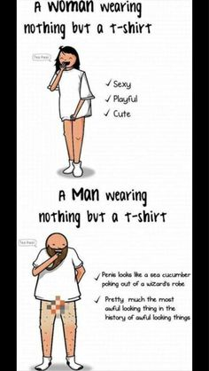 Man Vs Woman - wearing nothing but a t-shirt