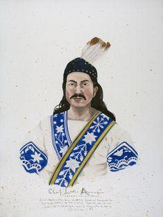 "SCOTT KELLEY Wabanaki - Chief Louis Annance, Abenaki, Tribe of St. Francis, 2014. Watercolor and gouache on paper, 40"" x 30"""
