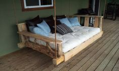 Porch Swing Bed - I think this would look really good on my porch