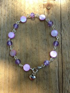 Lilac shell and glass crackle bead bracelet with by Fleetbeads