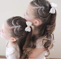 Double lace braided heart ponytails