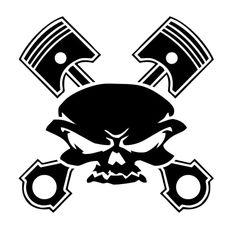Pistons Skull Die Cut Vinyl Decal PV1038