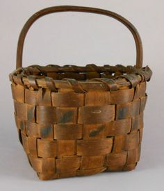 Great RARE 19th Century Miniature Woodlands Indian Paint Decorated Splint Basket