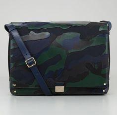 Valentino Rockstud Camo Canvas/Leather Messenger Bag (Blue/Green)