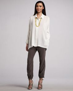 Boxy Silk Blouse & Cargo Pants by Eileen Fisher at Neiman Marcus.