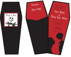 Nightmare Before Christmas Wedding Invitations. Do you have trouble choosing the invitation design that suits you? As inspiration, we have put together unique and interesting invitations in the Christmas Inv… Gothic Wedding Invitations, Christmas Wedding Invitations, Halloween Party Invitations, Wedding Wishes, Wedding Cards, Wedding Bells, Invitation Writing, Invitation Ideas, Christmas Wedding Dresses