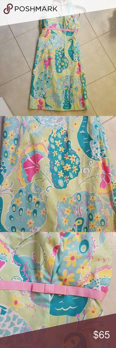 Lilly Pulitzer halter dress EEUC Lilly halter dress. Adorable summer print. Padding at bust. Lilly Pulitzer Dresses