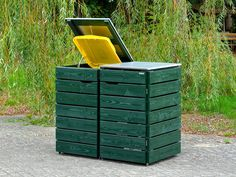 Mülltonnenbox Holz - Holzweise Garbage Can Shed, Garbage Containers, Outdoor Furniture, Outdoor Decor, Outdoor Storage, Canning, Washing Bins, Hide Trash Cans, Home And Garden