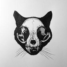 Cat  #rotring #drawing #art #cat #skull #ink #tattoo #flo #flodesign #aix