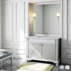 Brushed Aluminum Baroque Cabinet Vanity Top 47 1/2x21 1/2 - Country Floors of America LLC.