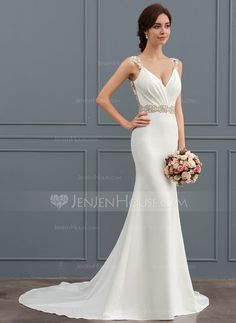 40125b5b055629   216.00  Trumpet Mermaid V-neck Court Train Stretch Crepe Wedding Dress  With Lace Beading (002127257)