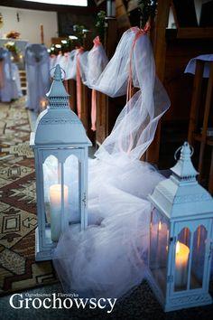 dekoracja kościoła Człuchów - Chrząstowo dekoracje ślubne Człuchów latarnie dekoracje ławek