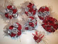 Scarlet & Gray silk flowers