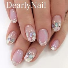 New Bridal Nails Designs Pearls Ideas Dream Nails, Love Nails, Pretty Nails, My Nails, Bridal Nails Designs, Nail Art Designs, Seashell Nails, Pearl Nails, Kawaii Nails