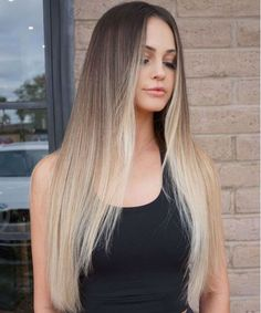 Glorious Peach Blonde Long Straight Hairstyles for Girls to Look Perfect This Summer - balayage hair underlights Ombre Hair Color, Hair Color Balayage, Bayalage, Blonde Balayage Long Hair, Balayage Highlights, Ombré Hair, 80s Hair, Wavy Hair, Pinterest Hair