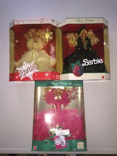 1989/1990/1991 Happy Holidays Barbie Lot! NIP! Minor Shelf Wear! Pics! 74299018718 | eBay