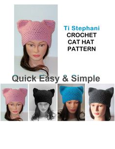 CAT HAT PATTERN, Simple Crochet Pattern, Kitty Cat Hats, Cat Beanies, Pussycat Hats, Instant Download, Ti Stephani Best Seller, by TiStephani on Etsy