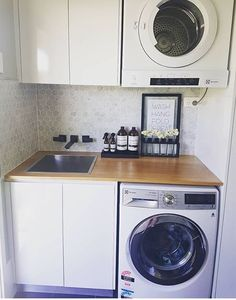 Simple yet elegant Laundry Room Storage, Laundry Closet, Laundry Bathroom Combo, Laundry Nook, Pantry Laundry Room, Small Laundry Sink, Laundry Room Cabinets, Small Laundry Rooms, Laundry Sinks