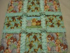 Jungle Baby Animal Rag Security Lovey Baby Girl or Boy Small Rag Quilt Blanket Security Lovey Minky Backing Valentine gift Car Seat Quilt by farmernurse on Etsy