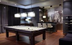 billiard room with bar in black