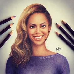 Beyoncé Knowles. Celebrities Drawn and Colored in with Pencils. See more art and information about André Manguba, Press the Image.