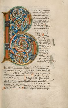 Inhabited initial B. Stammheim Missal, Hildesheim Germany, circa 1170.
