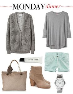 Aerie $34.50  Create a casual dinner outfit by pairing this week's icy mint shorts with neutral tones. A soft jersey shirt, a cuddly cardigan, a quilted leather tote, a posh round watch, and a pair of canvas booties all go hand in hand. Gloss up your lips with a glimmering lip gloss.