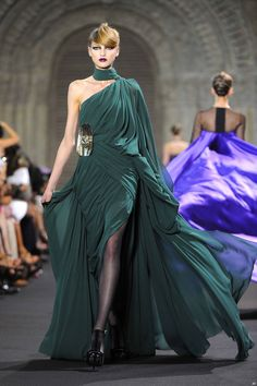 Another one of Stephane Rolland.  This Emerald green Silk Chiffon dress will light up a room.
