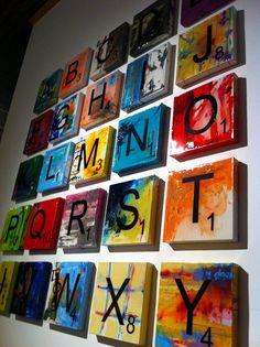 Scrabble tile letter N 12x12 original art by loftyparty on Etsy... easy DIY VETTAAA!!!