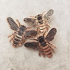 Enamel Honey Bee Pin designed by Erin Greenough Made with high quality gold plating and black hard enamel. Each pin comes with a clutch back and a backing card. Hopeless Fountain Kingdom, Jacket Pins, Do It Yourself Fashion, Make Peace, Cool Pins, Bees Knees, Pin And Patches, Mellow Yellow, Soft Grunge