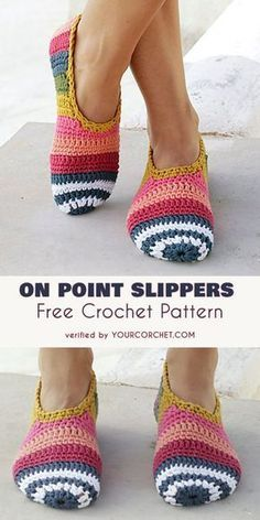 On Point Slippers with Stripes Free Crochet Pattern - Easy, comfortable and eye-catching. Is there anything more you can want from slippers? Surely not! The On Point Slippers Pattern is available in several sizes from 5 to 10 1/2 US (35-43 EU), so that everyone can own their own pair! The pattern includes details about the yarn used in each. Easy Crochet Slippers, Crochet Socks Pattern, Free Crochet Slipper Patterns, Crotchet Socks, Free Easy Crochet Patterns, Sewing Slippers, Easy Crochet Hat, Crochet Boot Cuffs, Beginner Crochet Tutorial