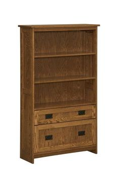 Amish Mission Filing Cabinet Bookcase Combining the best of both worlds, this unique bookcase offers one file drawer and one regular drawer, adjustable shelves and your choice of wood and finish. Simple mission style. #UniqueOfficeFurniture