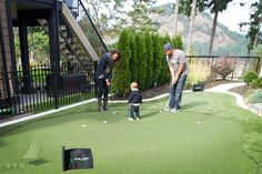 Installing an artificial grass putting green in your backyard will have a bigger positive impact on your family than you might think. Backyard Putting Green, Daycare Design, Golf Green, Tropical Backyard, Leaving Home, Garden Landscaping, Improve Yourself, Golf Courses, Field Hockey