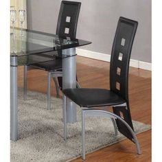 Roundhill Cinda Metal Contemporary Dining Room Chairs, Set of 2, Multiple Colors Available, Black
