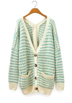 Blue Plaid Pockets V-neck Thick Wool Blend Cardigan