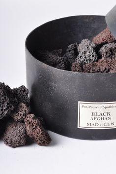 Mad et Len fragrance diffusor using lava style stones. Black Afghan, Cute Blankets, Black Truffle, Perfume, Home Scents, Metal Box, Wabi Sabi, Along The Way, Diffuser