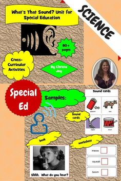 Science Unit on Sound for Special Education, especially autism. Includes over 80 pages of material so students with significant disabilities, especially autism, are able to access the material and make real-life connections with this important content. Includes: 2 books, vocabulary board, social story, worksheets, sorting activities, sound clips, and a student booklet to make. Download at: https://www.teacherspayteachers.com/Product/Sound-Unit-for-Special-Education-1437313