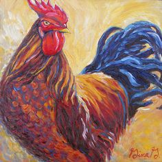 """""""Red and Mighty"""" rooster painting by Gina Grundemann"""