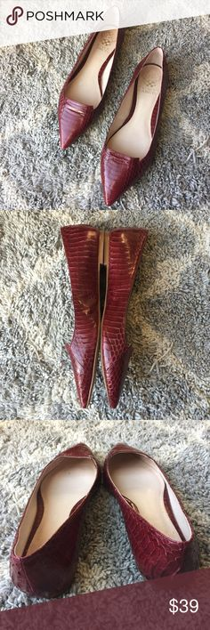 Vince Camuto Empa chianti snake pointed flats Vince Camuto 'Empa' snake print embossed flats in red chianti leather. Pointed toe loafer style flats. Leather upper with snakeskin embossed texture. Size 7.5. In excellent condition. Vince Camuto Shoes Flats & Loafers