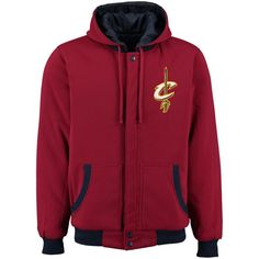 Cleveland Cavaliers Red/Navy Reversible Fleece Hooded Jacket #cavs #cavaliers #cleveland