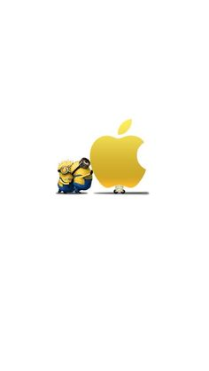 Minion and apple logo Amor Minions, Cute Minions, Minions Despicable Me, Minions Quotes, Apple Wallpaper Iphone, Apple Iphone, Cute Wallpapers, Wallpaper Backgrounds, Iphone Wallpapers