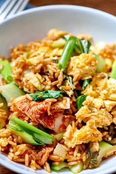 Weeknight Recipe: Kimchi Fried Rice with Extra Greens Quick and Easy Vegetarian Dinners The post Weeknight Recipe: Kimchi Fried Rice with Extra Greens appeared first on Tasty Recipes. Easy Vegetarian Dinner, Vegetarian Recipes, Cooking Recipes, Healthy Recipes, Vegan Meals, Dinner Healthy, Cooking For A Crowd, Cooking On A Budget, Recipes