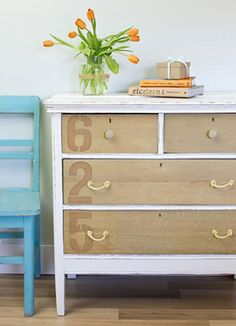 Cheap Decorating Ideas: In place of expensive drawer pulls, add character to a dresser by creating them out of rope.