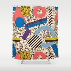 Memphis Inspired Pattern 3 Shower Curtain
