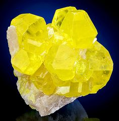 Sulfur crystals on Aragonite matrix. From Agrigento, Agrigento Province, Sicily, Italy.