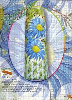 Lili Fazendo Arte: Passo a Passo Telhas Gérberas Azuis