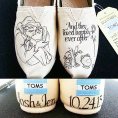 wedding beauty and the beast Disney Beauty and the Beast Happily Ever After by Brinkadoodle I need a Tangled pair for my wedding! Disney Wedding Shoes, Disney Wedding Dresses, Disney Dresses, Disney Bride, Disney Shoes, Beauty And The Beast Wedding Theme, Disney Beauty And The Beast, Wedding Beauty, Trendy Wedding