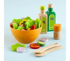 Salad kit to go in the kids' play kitchen. Start teaching them about healthy eating early!
